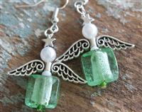 Angel Earrings Green Glass