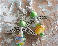 Angel Earrings Lime Green