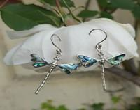 NZ dragonfly earrings, silver with NZ paua shell