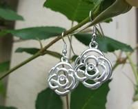 Made in NZ, silver flower earrings - NEW