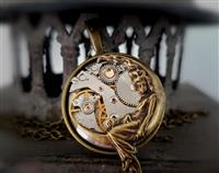 Steampunk Inspired Pendant - The Goddess & her moon in Antiqued Brass
