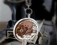 Steampunk Inspired Pendant - The Goddess & her moon in Antiqued Silver