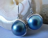 Pearl earrings, sterling silver