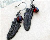 Raven Plume earrings: dark feather charms with blood-red glass beads – gothic earrings