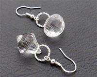 Ice Drops earrings: big, clear, sparkly faceted drops on sterling silver plated hooks