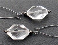 Clear Ice earrings: sparkly, faceted, diamond-shaped drops on long gunmetal-black ear-wires