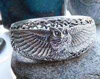 Owl Bangle Sterling silver - made in New Zealand