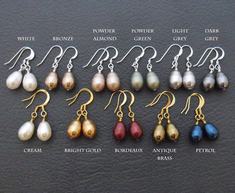 Discover Me Silverlight Jewellery Simple Pearl Earrings Your Choice Of Teardrop Shaped Swarovski Pearls With Sterling Silver Or Gold Plated Hooks