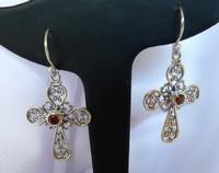 Garnet cross earrings, sterling silver filigree