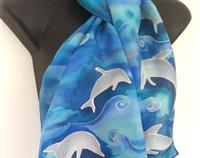 DOLPHINS playing Seascape, New Zealand Handpainted SILK Scarf, Aquamarine, Blue, Pink, Silver, Beach, Sea, water Long scarf, with Gift Card