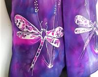 DRAGONFLY, Silk Scarf, New Zealand, Hand painted, Vibrant purple, cerise, Blue, silver, gift Hand painted Silk Scarf.  28cm x 150cm