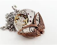 Vintage Steampunk Inspired Pocket Watch Pendant with Swooping Swallow
