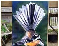 New Zealand Fantail Bird - Garden Wall Art Panel