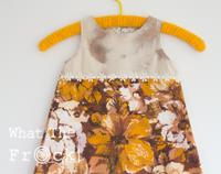 Girls A Line dress, Vintage fabrics, Orange and Brown, size 3 years