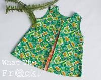 Girls A Line dress, Vintage fabrics, Green, size 4 years