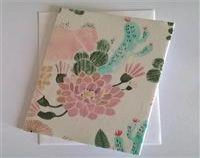 Fabric Floral Greeting Card - Desert Succulant
