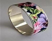 Floral Fabric Covered Bangle