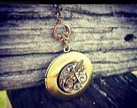Polished Brass Locket - Dragonfly & Crystal Steampunk Inspired