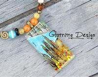 Autumn poplars glass necklace