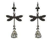 Victorian Earrings - Dragonfly Sterling Silver Plated with Vintage Pear
