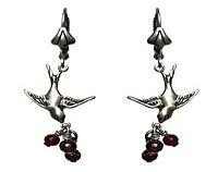 Victorian Earrings - Swallows with Garnet Berries Sterling Silver Plated.