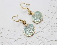 Blue Enamel Sea Shell Earrings