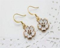 Rhinestone Enamel Flower Earrings