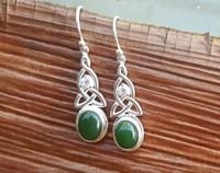 Silver NZ greenstone earrings - made in NZ