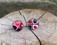 Red Retro Stud Earrings