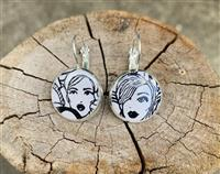 Black And White Faces Earrings