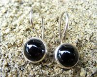 925 Ladies Silver Onyx Earrings