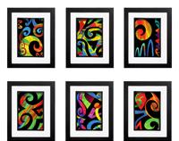 Abstract Koru Collection - 6 x Signed Prints