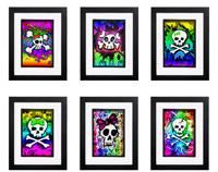Rainbow Skull Collection - 6 x Signed Prints