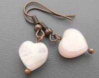 Rose Quartz Copper Heart Earrings