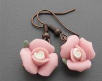 Pretty Pink Clay Rose Earrings