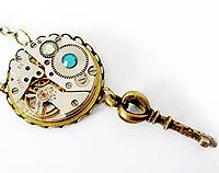 FunkyGlam Timeless Relic Pendant - Key and Crystals