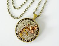 FunkyGlam Timeless Relic Pendant - Honey Bee & Swarovski