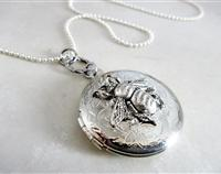 Funky Silver Locket with a Buzzy Bumble Bee