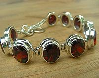 Silver garnet bracelet - birthstone for January