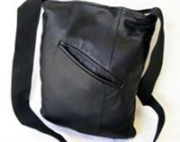 RE-LOVED ~ Upcycled Black Leather Pocket Messenger