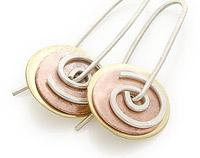 Brass, Copper, Spiral Drop Earrings