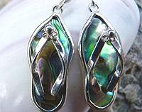 Silver Paua Shell Jandal Earrings
