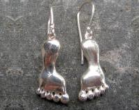 Solid silver foot earrings