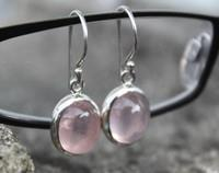 Rose Quartz Earrings, sterling silver