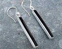 Black Shell Silver Earrings