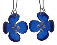 Four Petal Flower Recycled Glass Earrings.