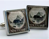 Mitre Peak New Zealand Landscape Postage Stamp Cufflinks