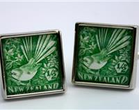 Fantail New Zealand Postage Stamp Cufflinks Square