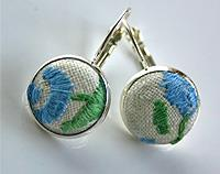 Hand Embroidered Earrings Blue and Green