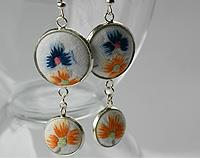 Hand Embroidered Earrings Orange and Blues
